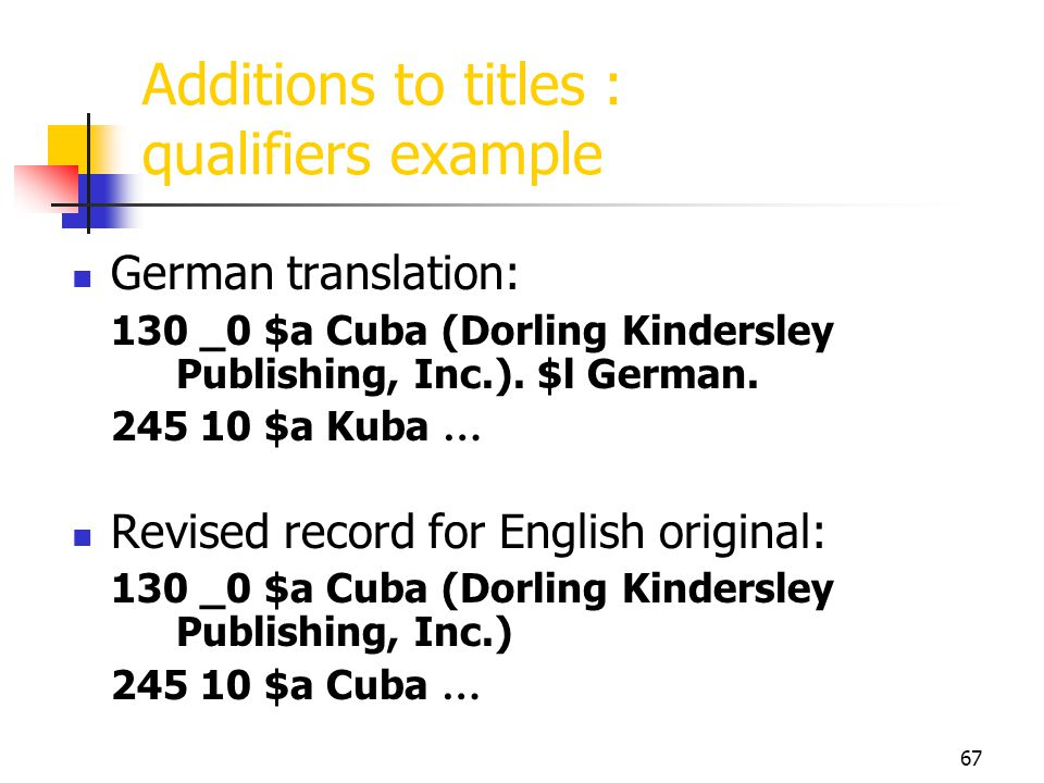 Additions to titles : qualifiers example