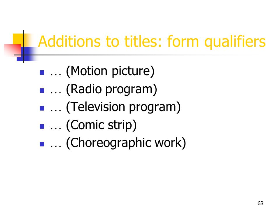Additions to titles: form qualifiers