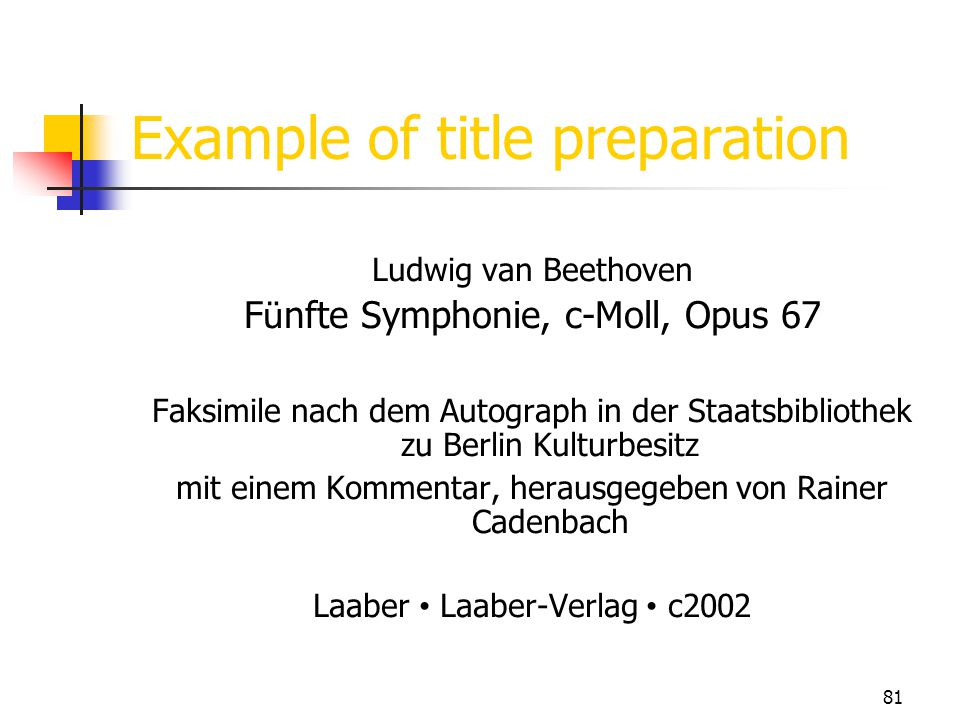 Example of title preparation