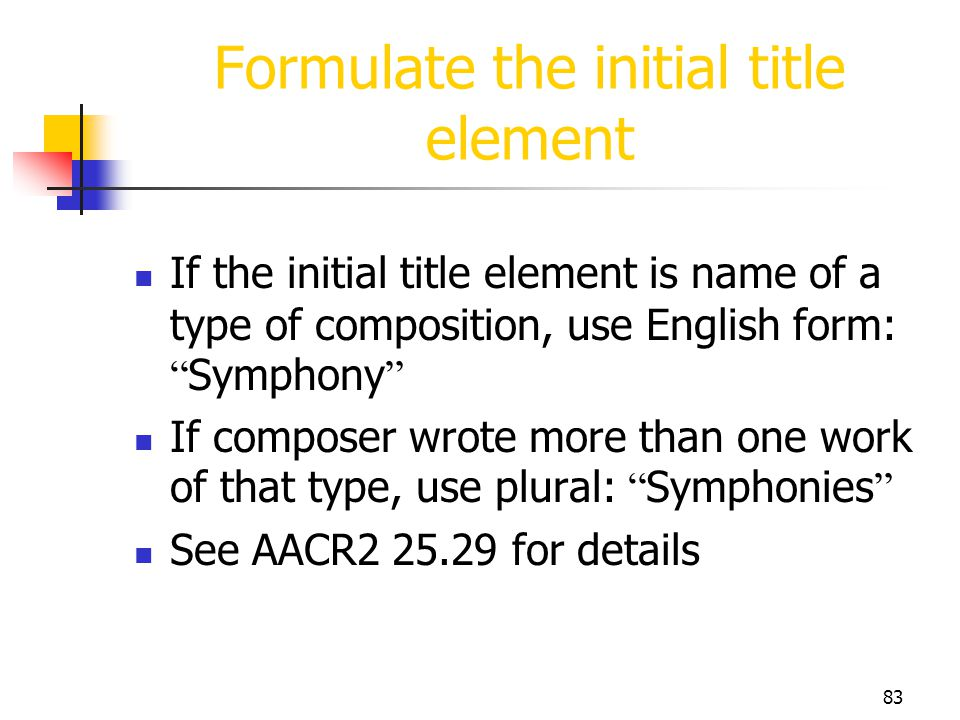 Formulate the initial title element