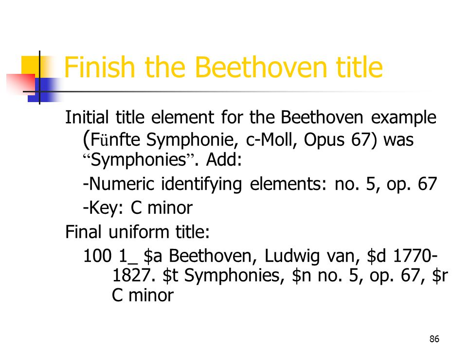Finish the Beethoven title