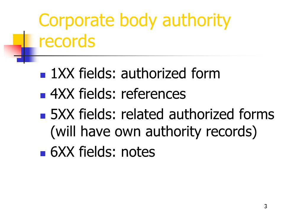 Corporate body authority records