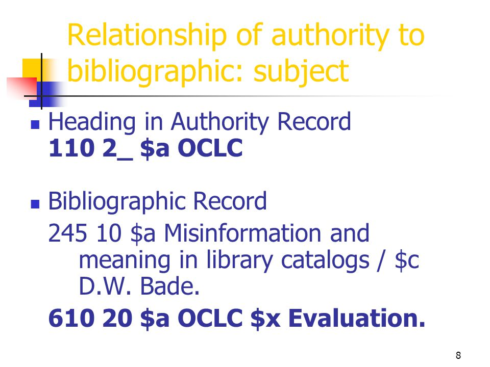 Relationship of authority to bibliographic: subject