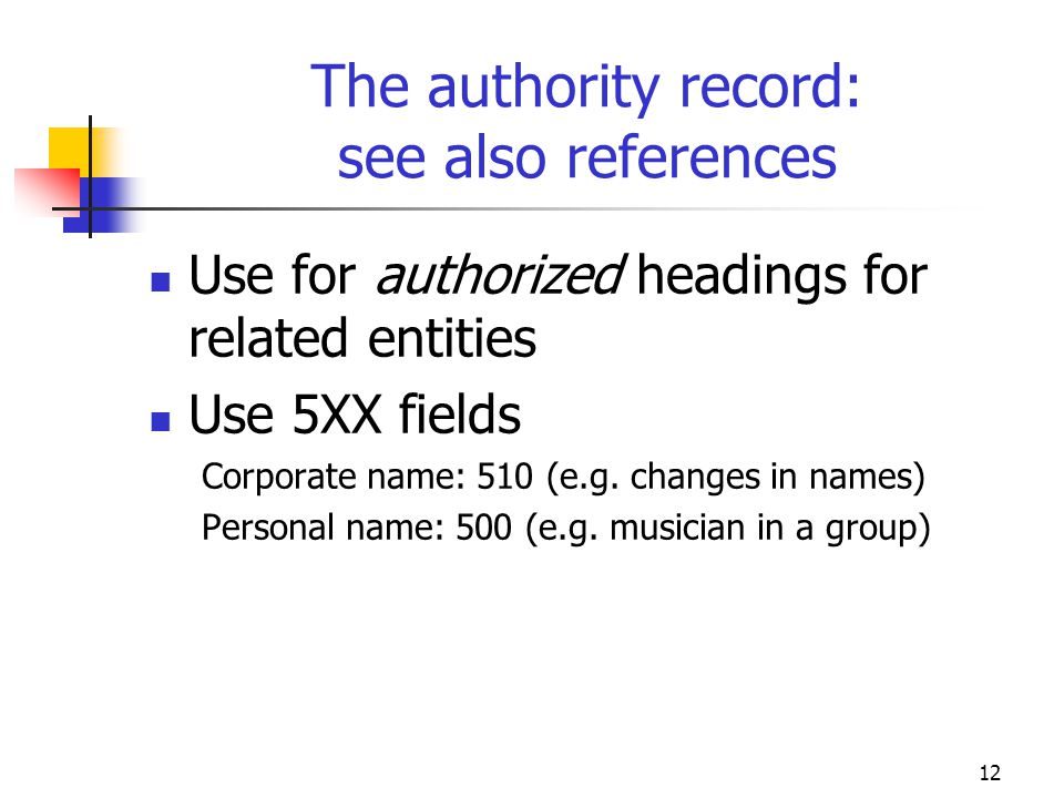 The authority record: see also references