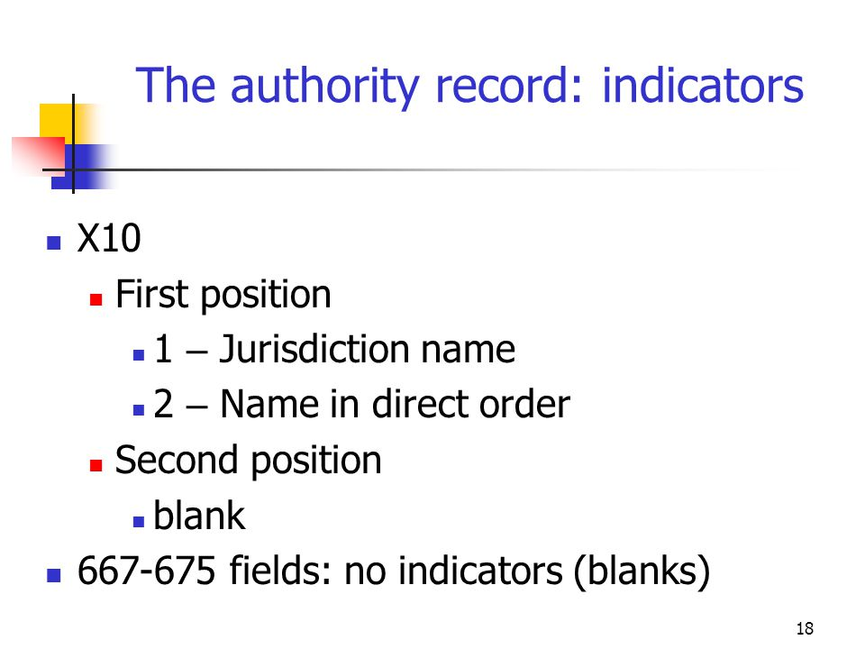 The authority record: indicators