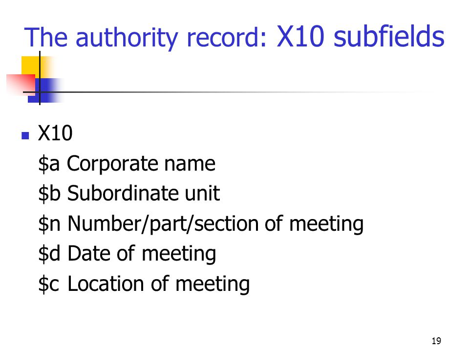 The authority record: X10 subfields