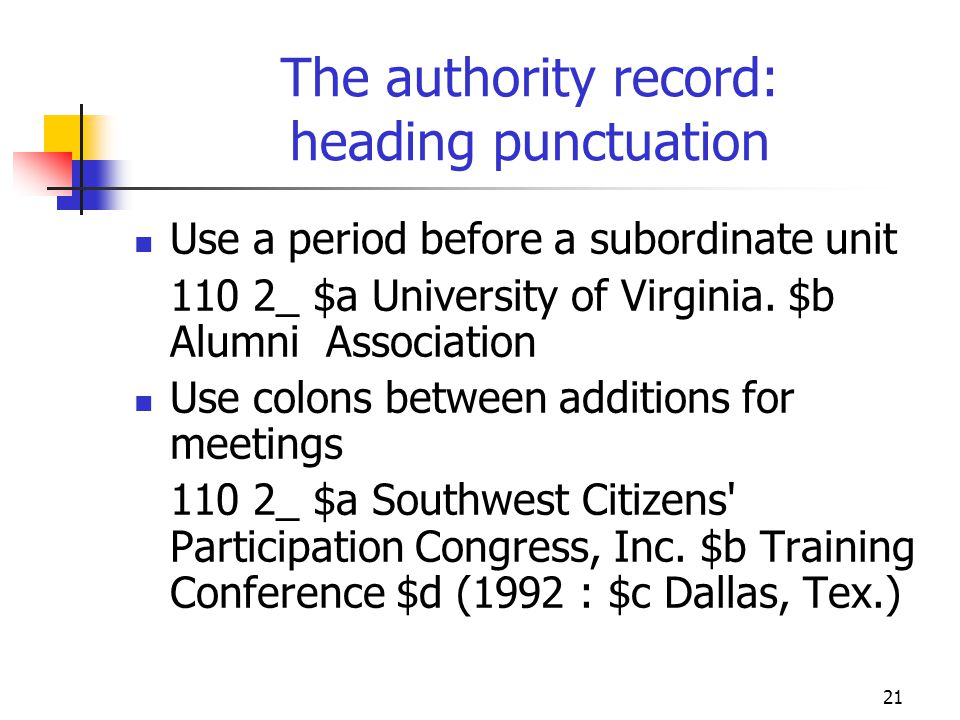 The authority record: heading punctuation