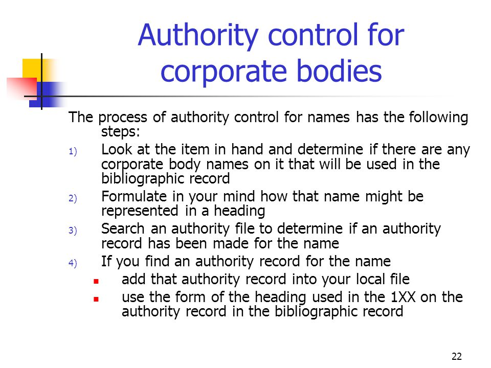 Authority control for corporate bodies