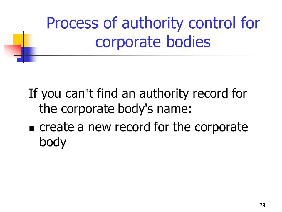 Process of authority control for corporate bodies