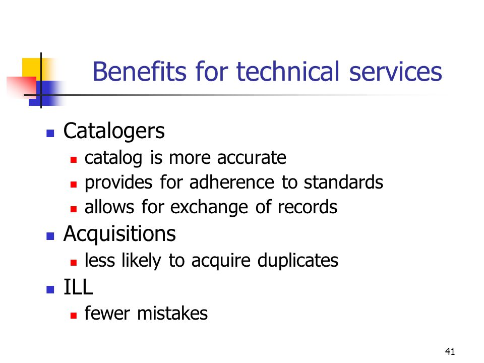 Benefits for technical services