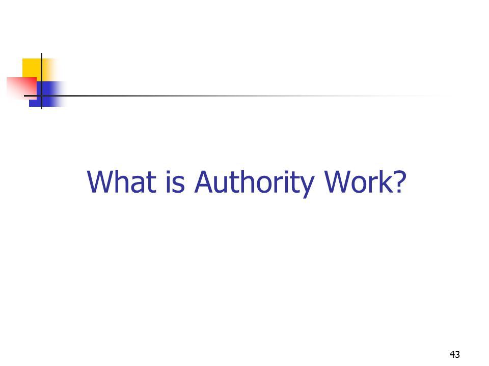 What is Authority Work 43