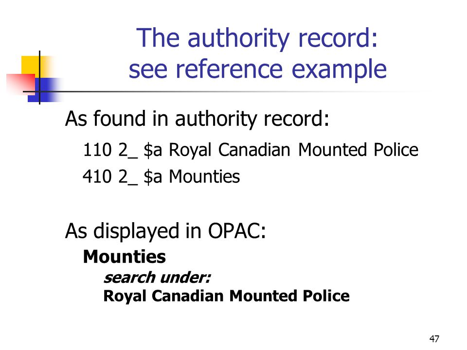 The authority record: see reference example
