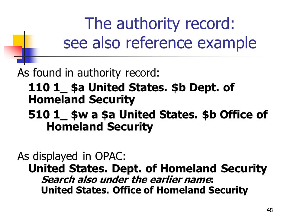 The authority record: see also reference example