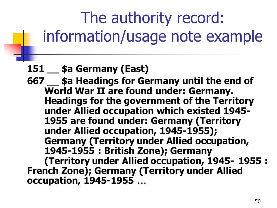 The authority record: information/usage note example
