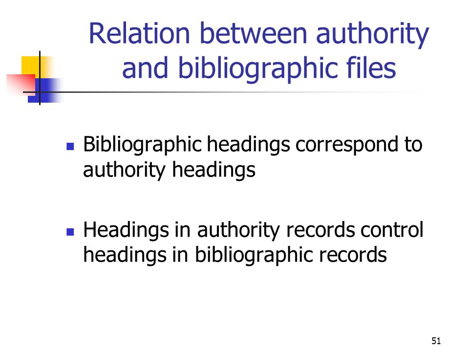 Relation between authority and bibliographic files