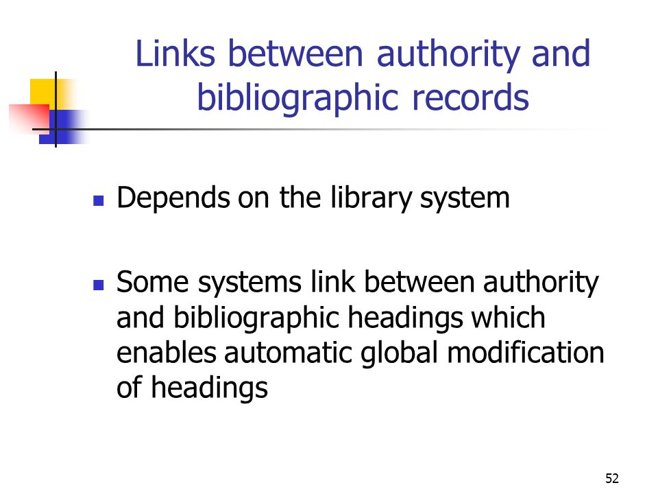 Links between authority and bibliographic records