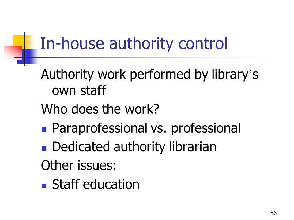 In-house authority control