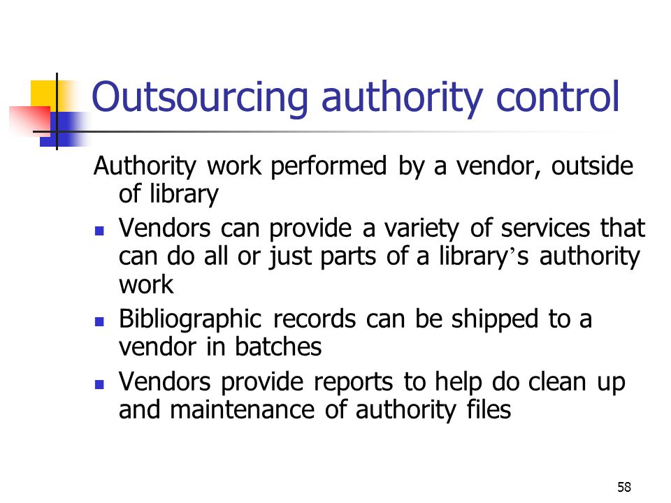 Outsourcing authority control