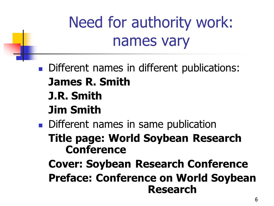 Need for authority work: names vary