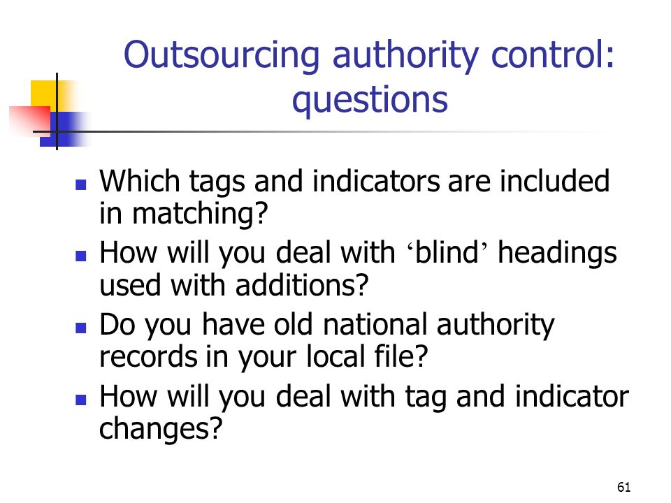 Outsourcing authority control: questions
