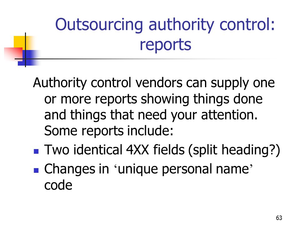 Outsourcing authority control: reports