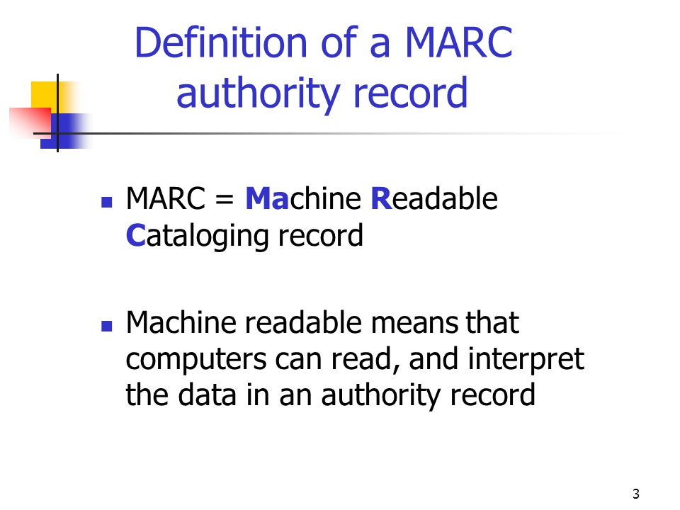 Definition of a MARC authority record
