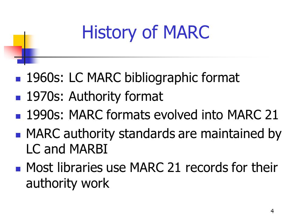 History of MARC 1960s: LC MARC bibliographic format
