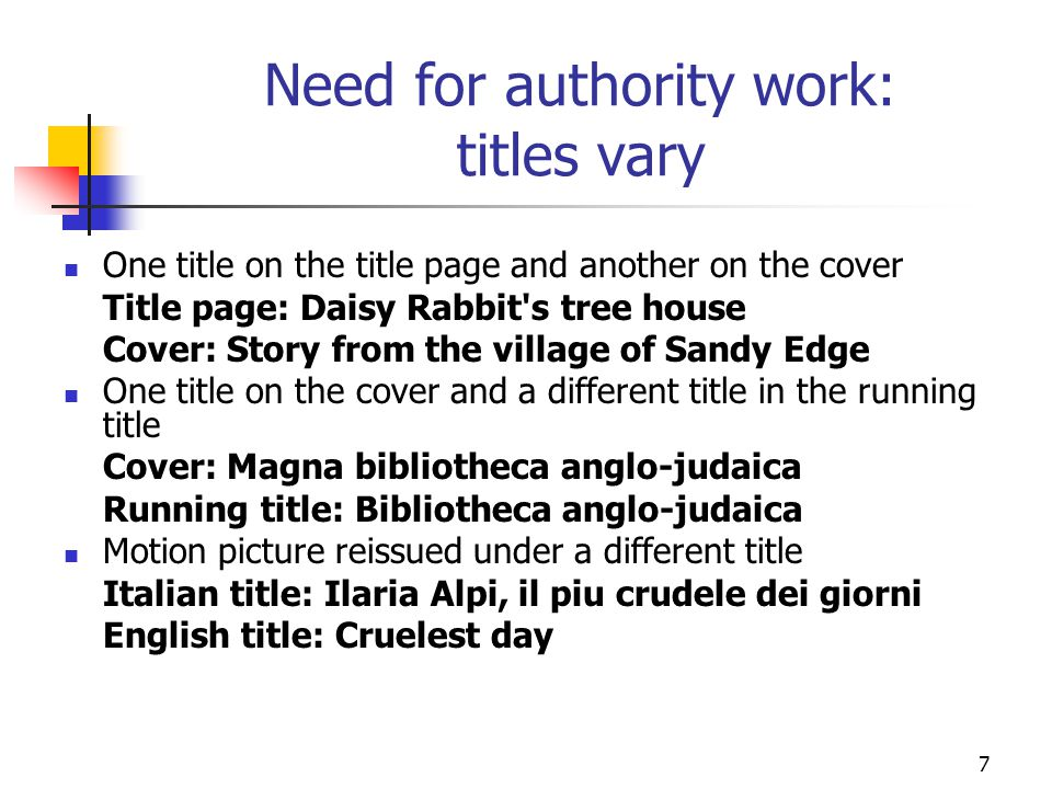 Need for authority work: titles vary