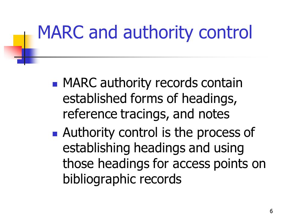 MARC and authority control
