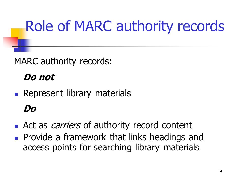 Role of MARC authority records