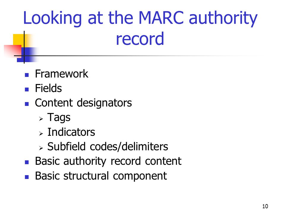 Looking at the MARC authority record