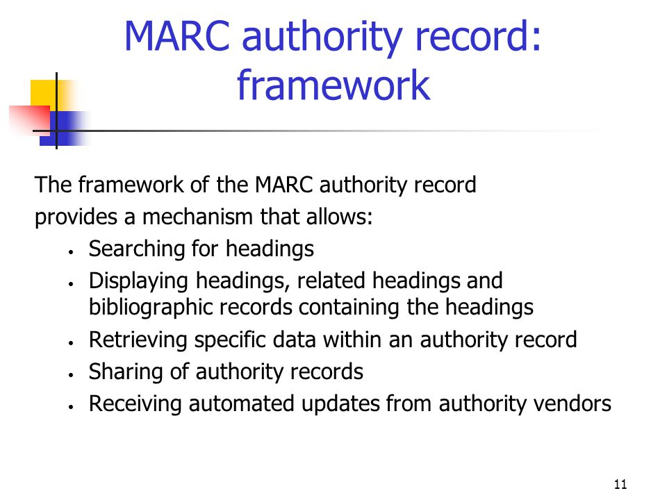 MARC authority record: framework