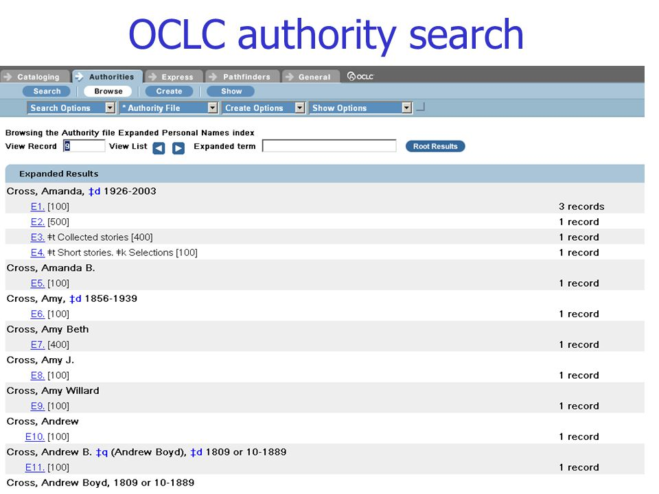OCLC authority search 78 Trainer's notes: