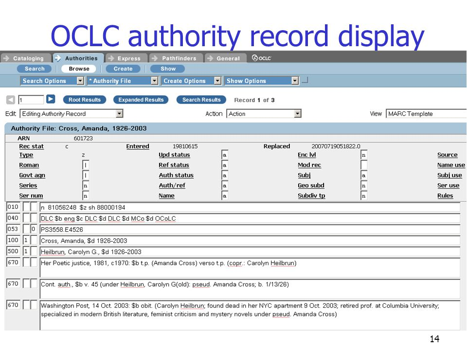 OCLC authority record display