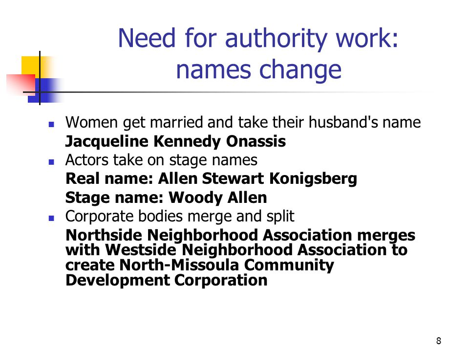 Need for authority work: names change