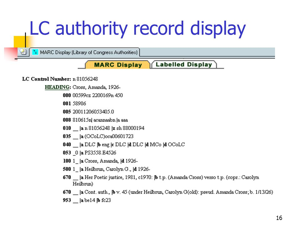 LC authority record display