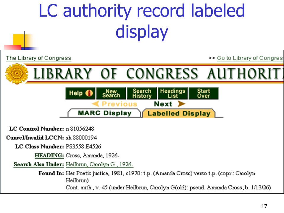 LC authority record labeled display