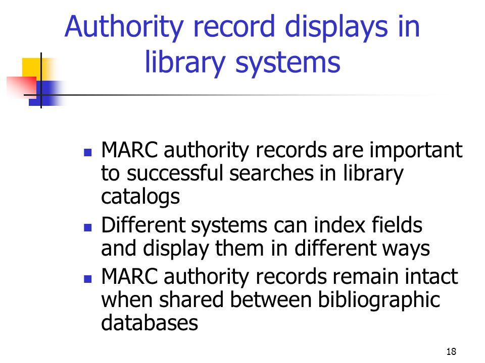 Authority record displays in library systems