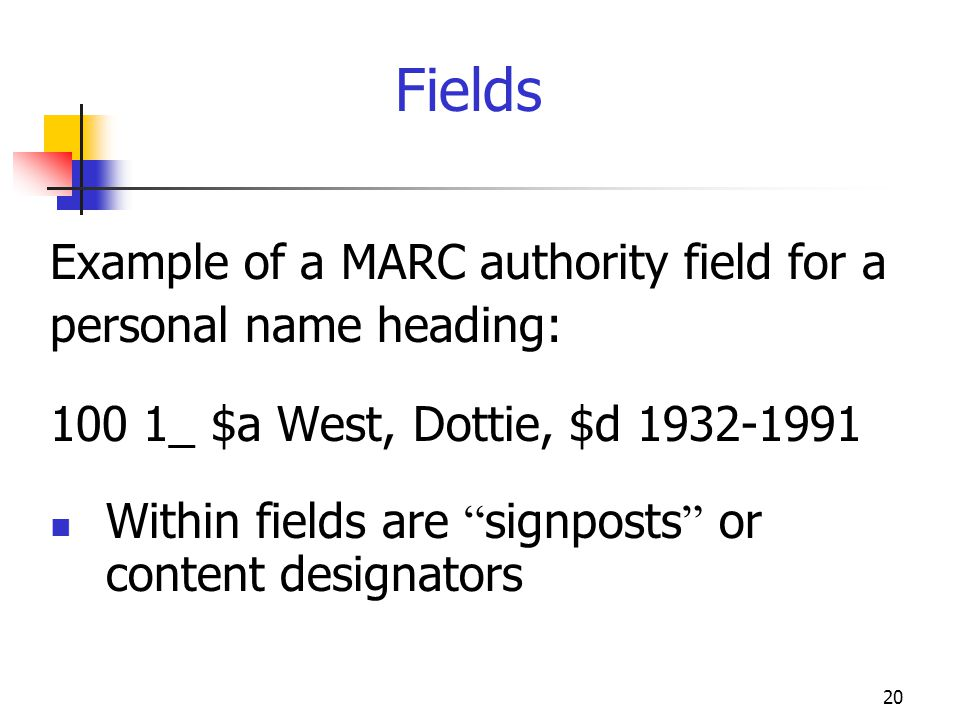 Fields Example of a MARC authority field for a personal name heading: