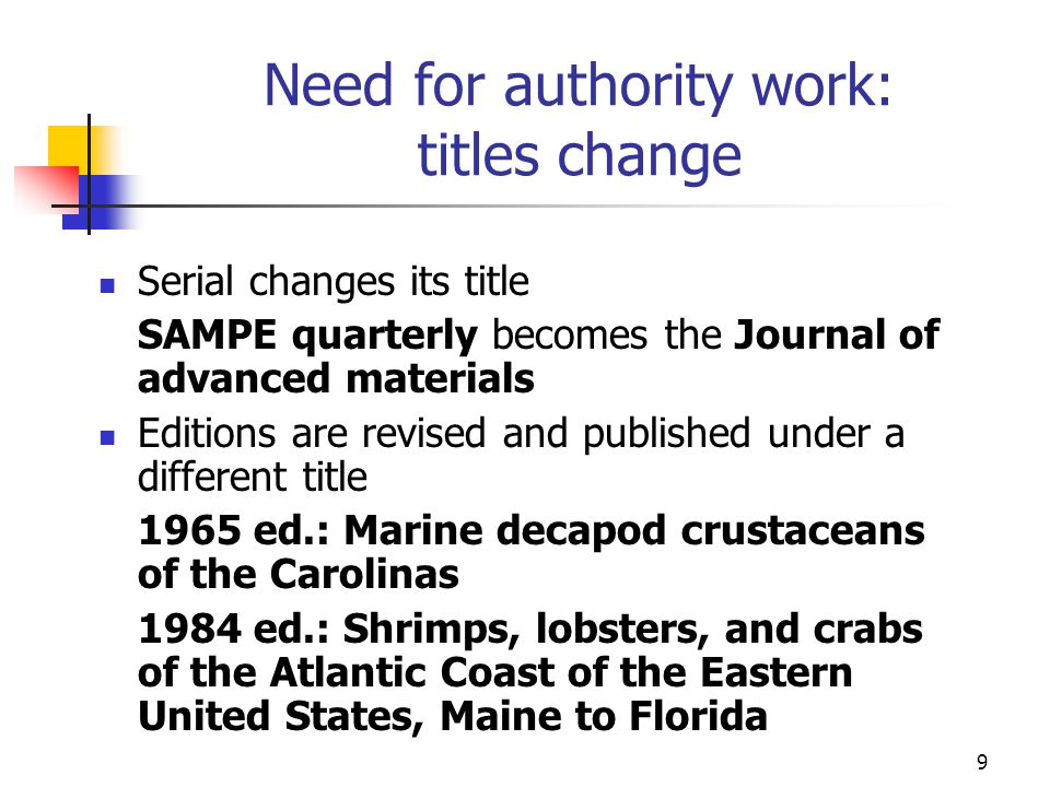 Need for authority work: titles change