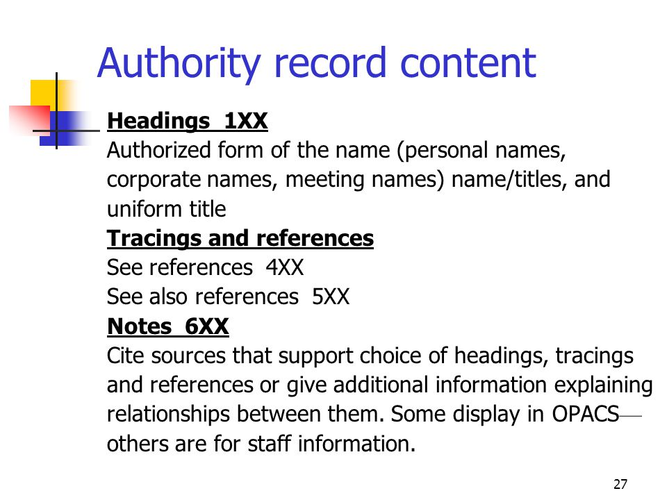 Authority record content