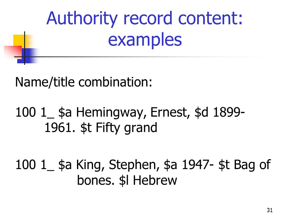 Authority record content: examples