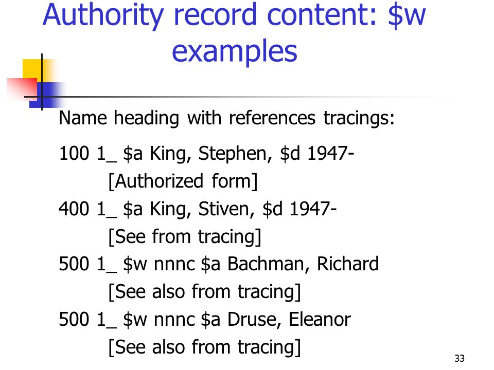 Authority record content: $w examples