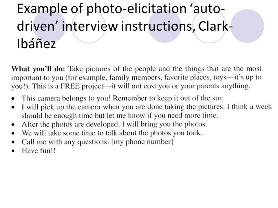 Example of photo-elicitation 'auto-driven' interview instructions, Clark-Ibáñez