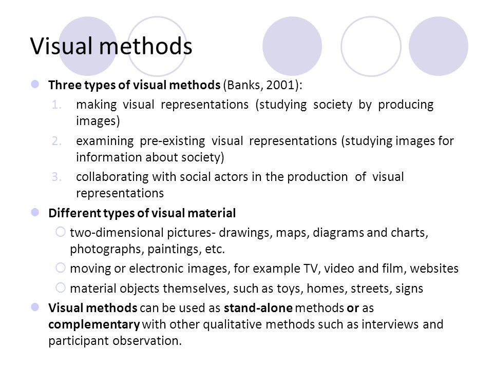 Visual methods Three types of visual methods (Banks, 2001):