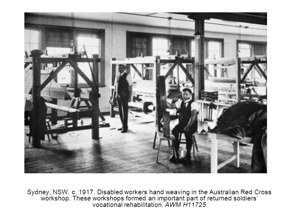 Sydney, NSW. c. 1917. Disabled workers hand weaving in the Australian Red Cross workshop.