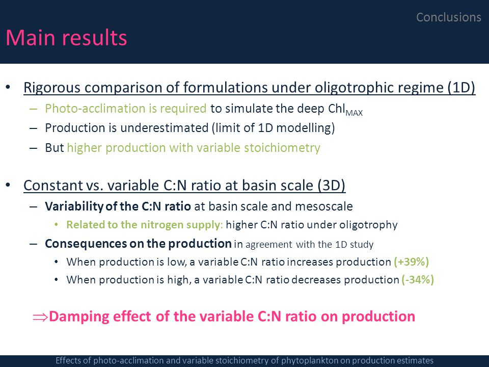 Main results Conclusions. Rigorous comparison of formulations under oligotrophic regime (1D)