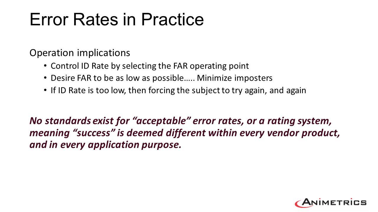 Error Rates in Practice