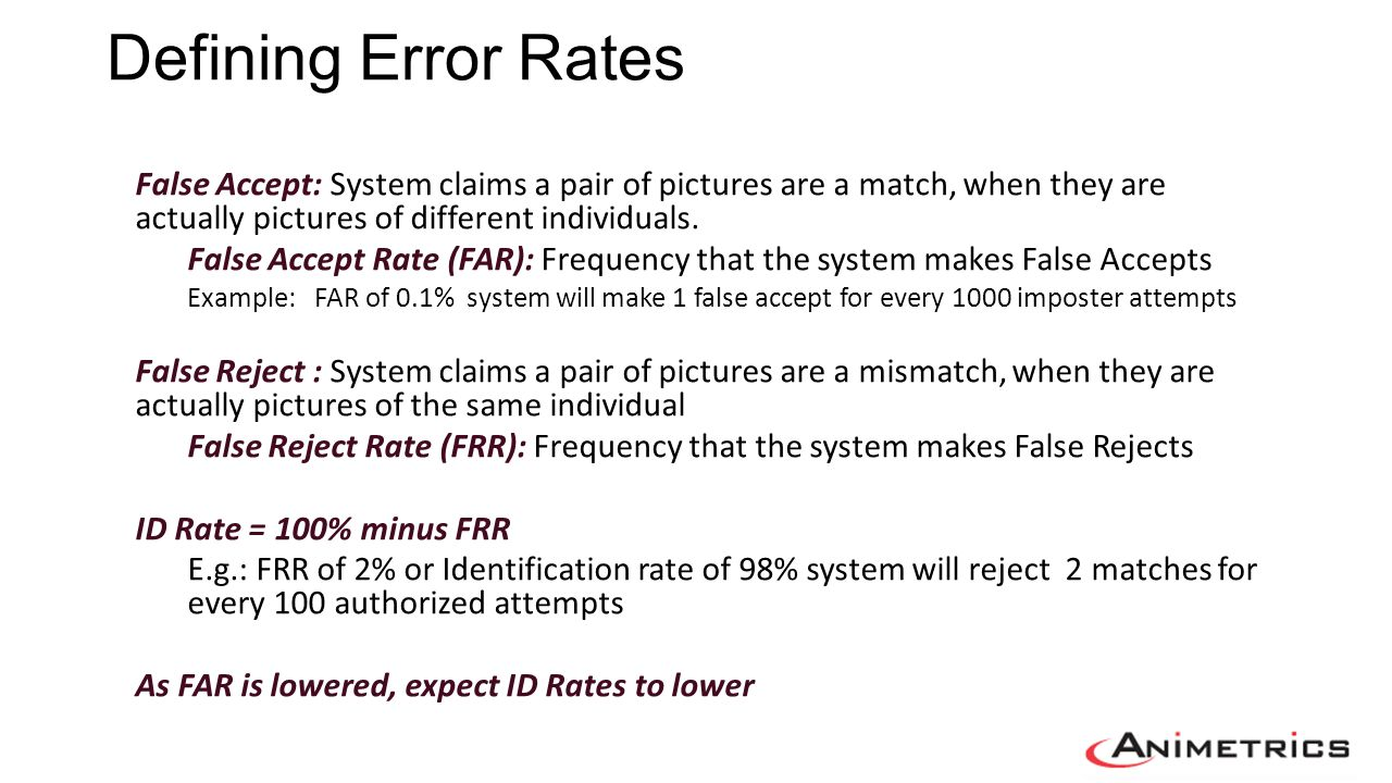 Defining Error Rates False Accept: System claims a pair of pictures are a match, when they are actually pictures of different individuals.