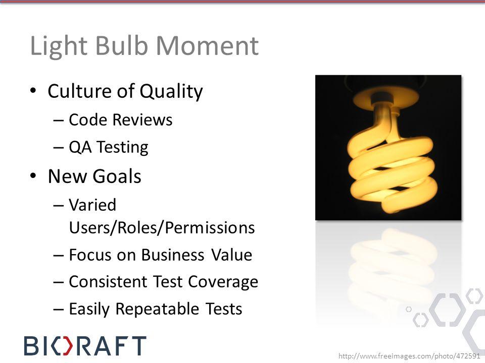 Light Bulb Moment Culture of Quality New Goals Code Reviews QA Testing